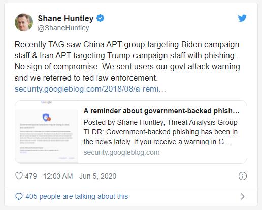 Shane Huntley cảnh báo hacker Iran và Trung Quốc trên Twitter.