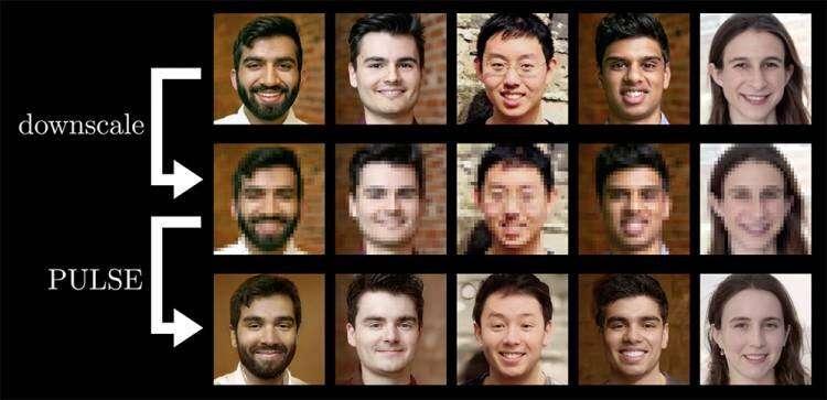 Ảnh chụp của 5 nhà nghiên cứu (hàng 1) được làm mờ (hàng 2) và nhập vào hệ thống. AI tạo ra khuôn mặt mới (hàng 3) với độ phân giải HD và khá giống ảnh thật.