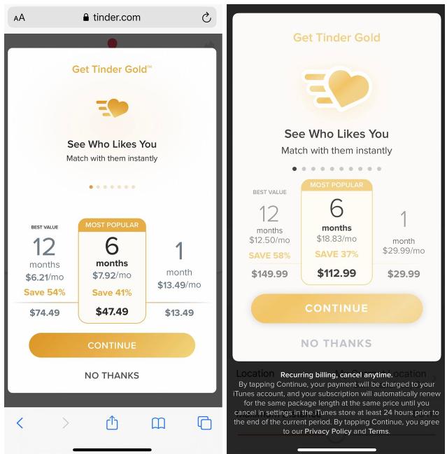 Giá đăng ký dịch vụ Tinder Gold qua website (bên trái) thấp hơn so với mua hàng qua ứng dụng trên iPhone. Ảnh: WSJ.