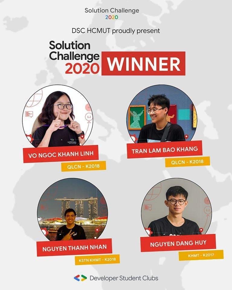 Nhóm 4 sinh viên trường Đại học Bách khoa chiến thắng giải Solution Challenge 2020 với ý tưởng phát triển ứng dụng về sức khoẻ tinh thần cho cộng đồng.
