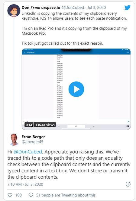 Phát hiện của Don Morton lập tức được đại diện của LinkedIn phản hồi.