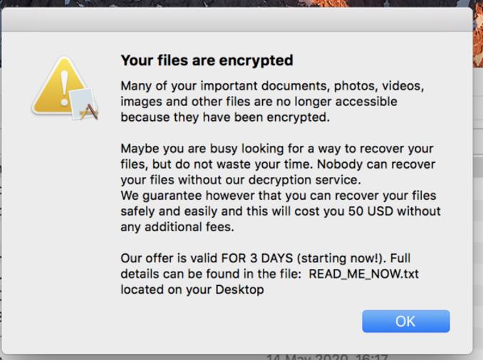 Thông điệp đòi 50 USD tiền chuộc trên một máy Mac bị nhiễm mã độc. Ảnh: Bleeping Computer.