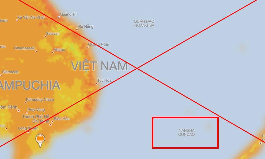 Bản đồ thời tiết MSN của Microsoft hiển thị sai thông tin quần đảo Trường Sa.