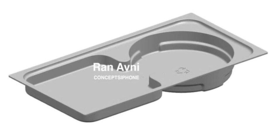 Ảnh CAD khay đựng bên trong hộp được cho là của iPhone 12. Ảnh: Ran Avni.