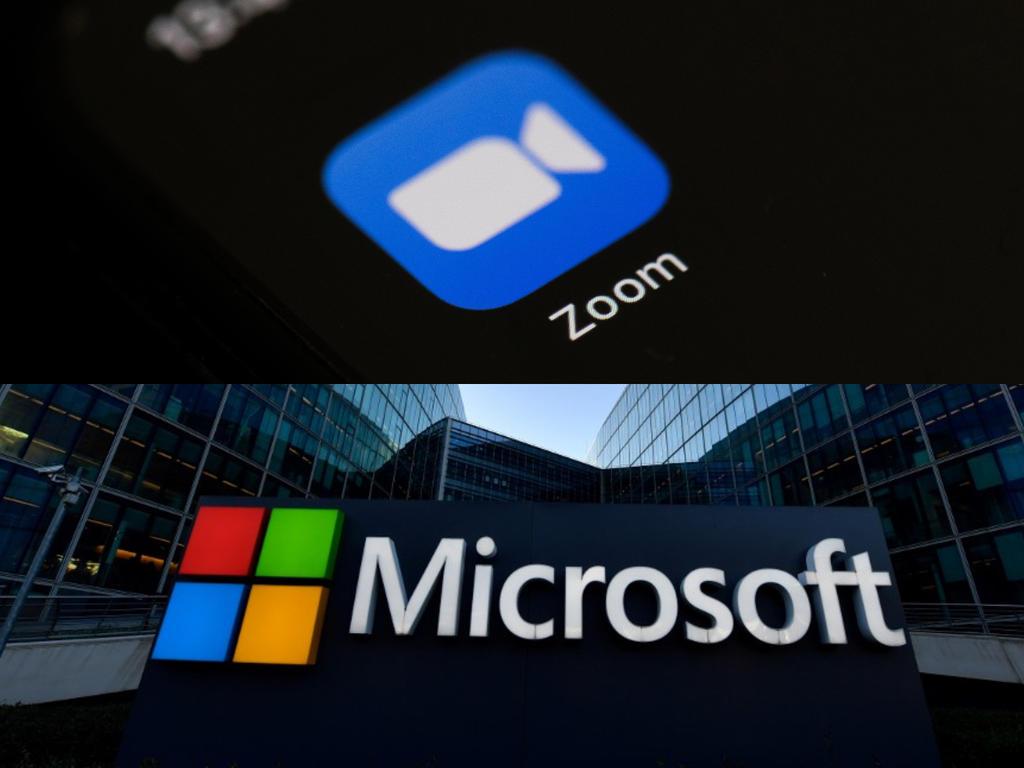 Zoom và Microsoft là hai hãng công nghệ vừa nói không với chia sẻ dữ liệu cho chính quyền Hong Kong. Ảnh: AFP.