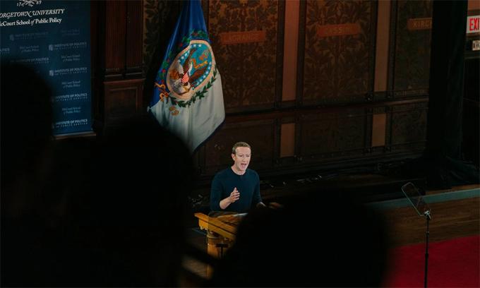 Zuckerberg phát biểu tại Đại học Georgetown hồi tháng 10/2019. Ảnh: NYTimes.