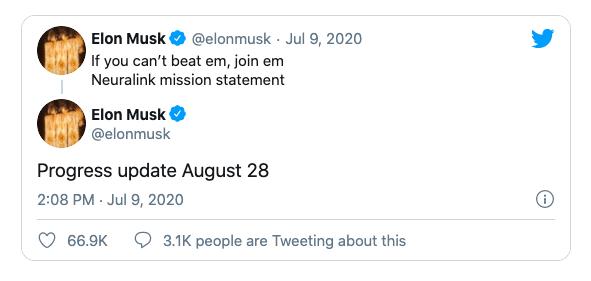 Musk hé lộ ngày ra mắt dự án của Neuralink trên Twitter.