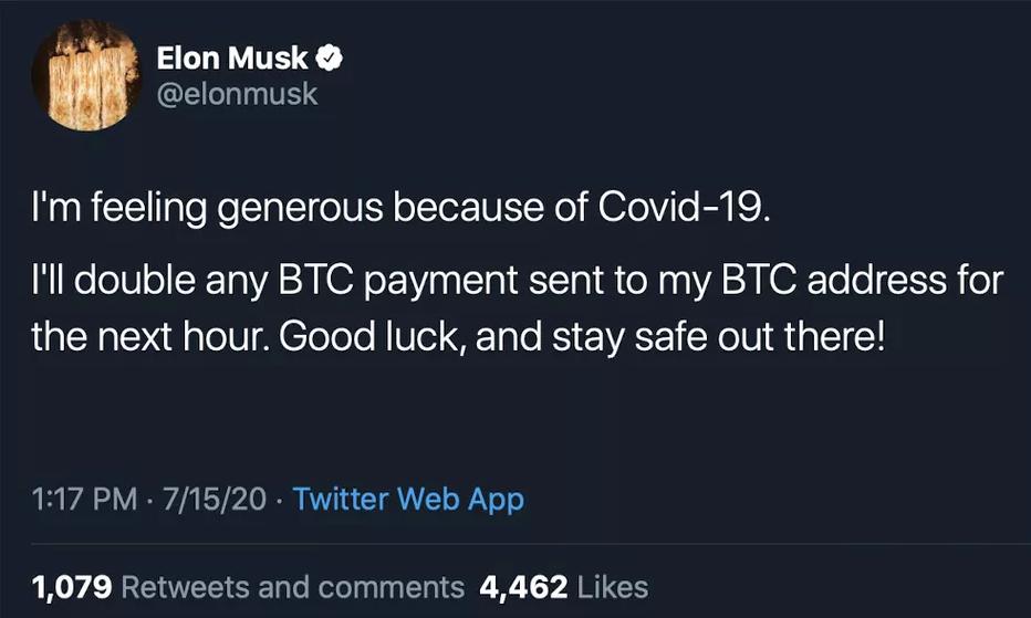 Tài khoản của Elon Musk bị nhắm tới đầu tiên.