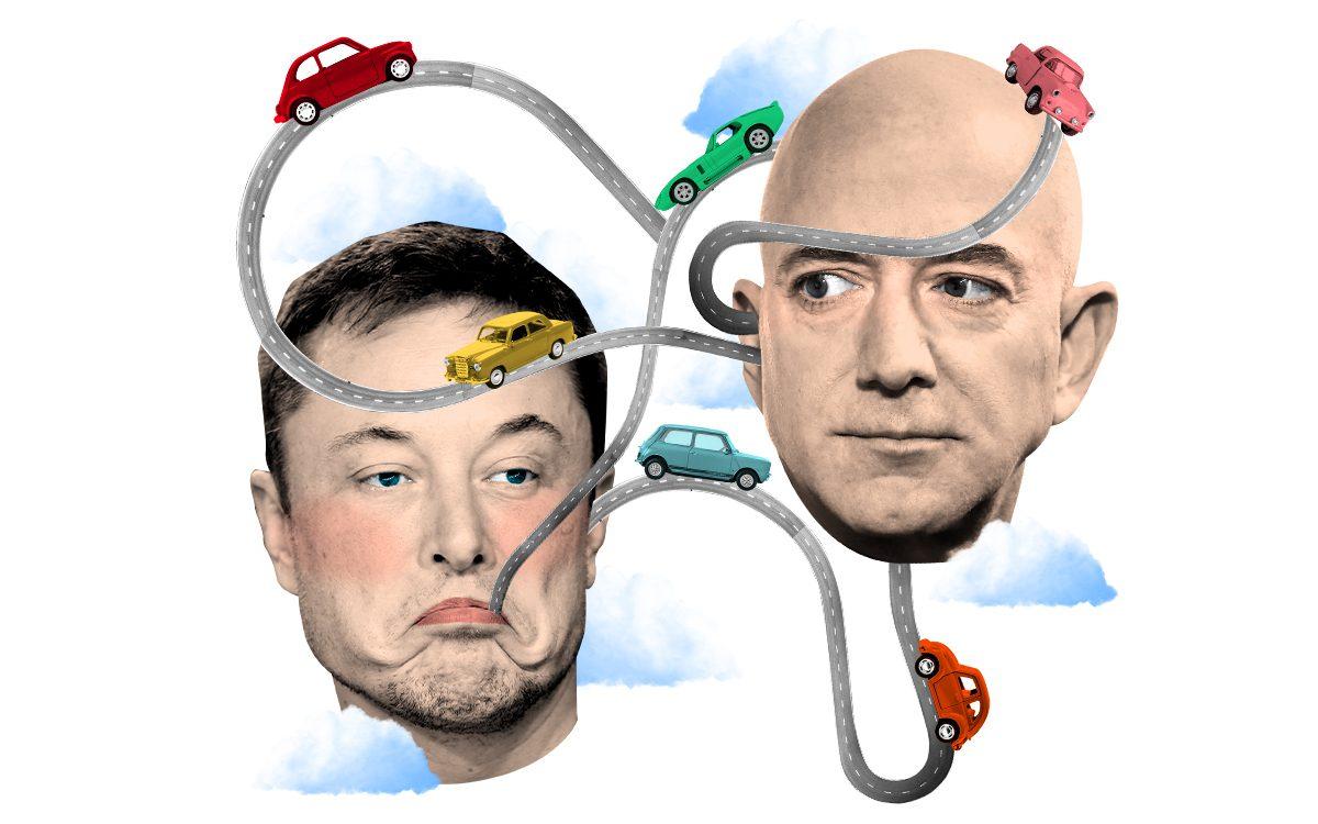 Jeff Bezos và Elon Musk đều phát triển xe tự lái. Ảnh: Telegraph.