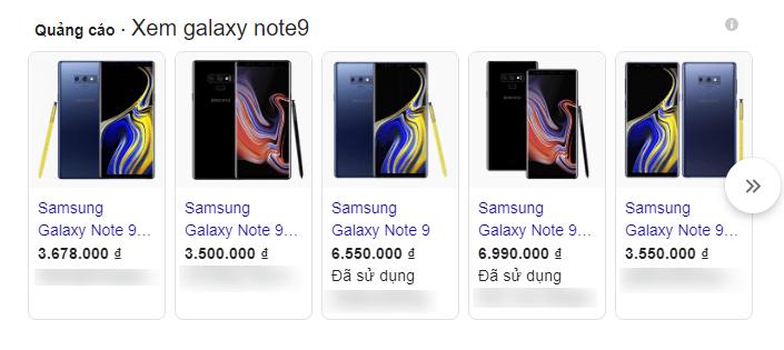 Galaxy Note9 trên quảng cáo Google với giá 3,5 triệu đồng, nhưng bị cho là hàng nhái.