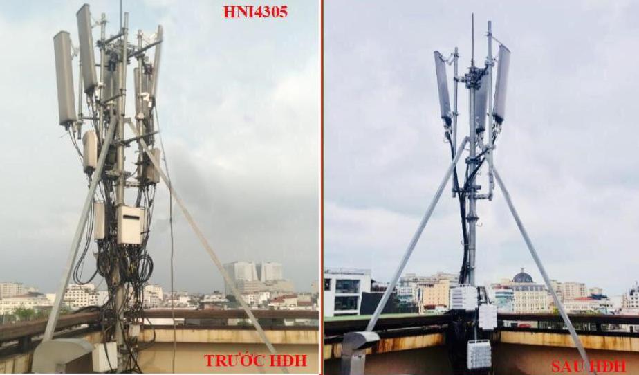Cột thu phát sóng của Viettel trước và sau khi thay mới thiết bị. Ảnh: Viettel