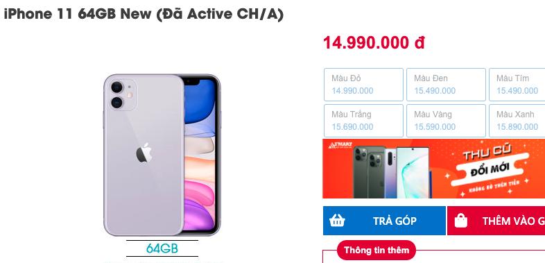 iPhone 11 bản Trung Quốc được nhiều cửa hàng xách tay bán với giá thấp hơn cả triệu đồng so với hàng Mỹ và hàng chính hãng.
