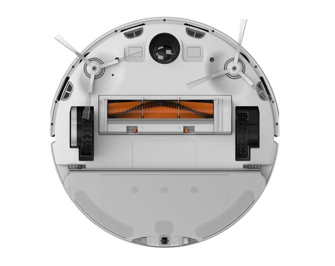 Máy có hai chổi quét cạnh, điều hiếm thấy ở robot hút bụi của Xiaomi.