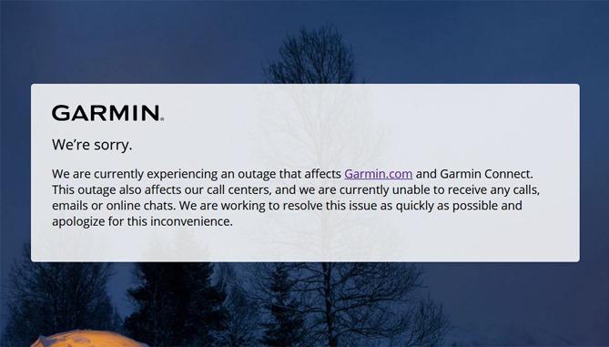 Thông báo của Garmin.