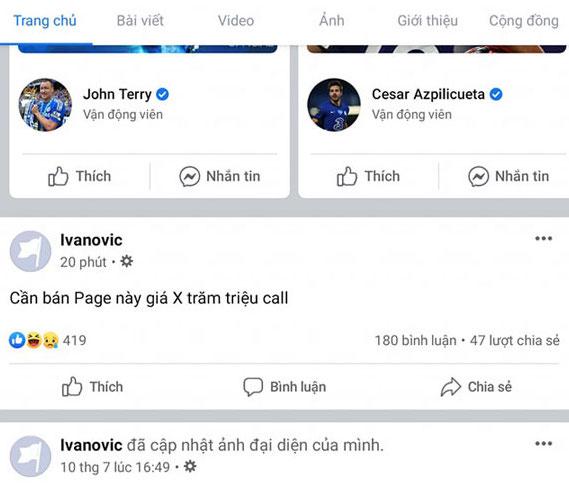 Ngày 10/7, tài khoản Ivanovic thay ảnh đại diện và rao bán công khai bằng tiếng Việt.