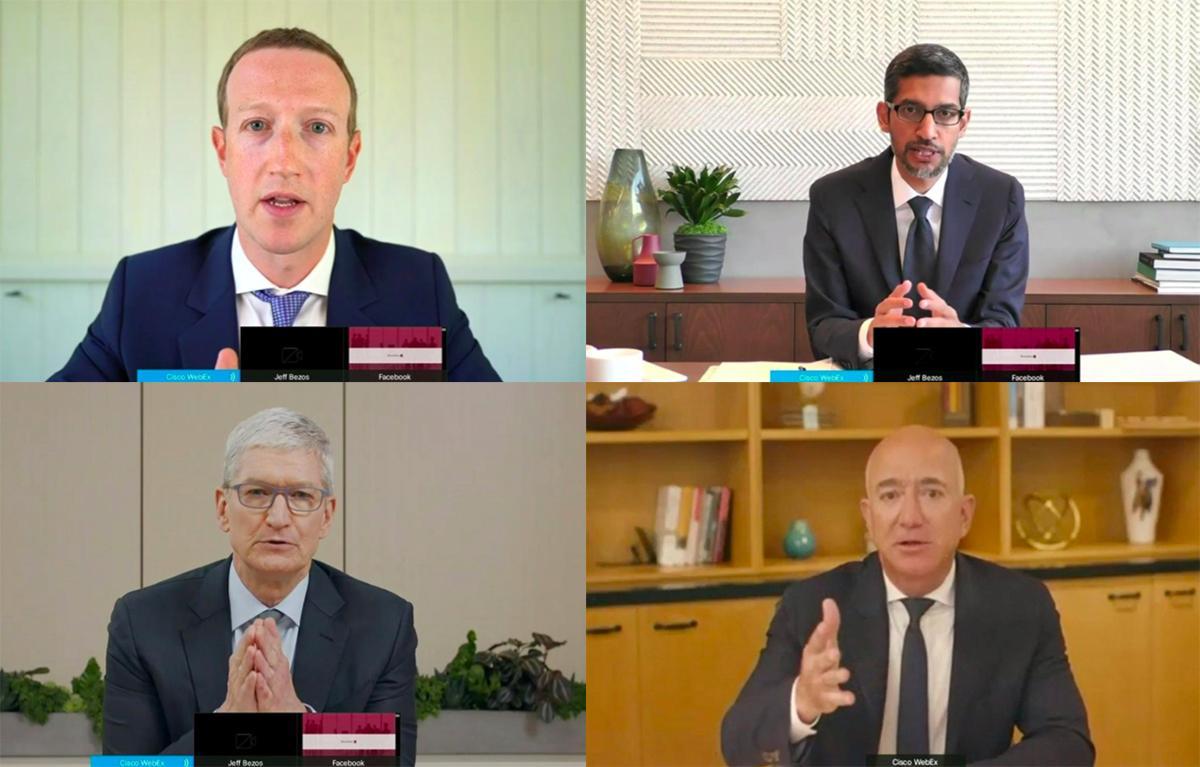 Bốn CEO công nghệ Mỹ tại phiên điều trần. Ảnh: Reuters.