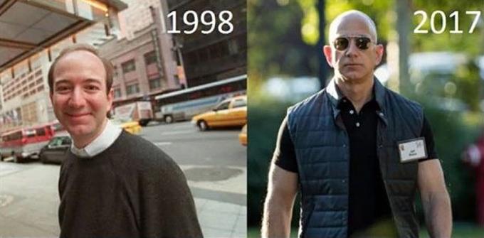 Sự thay đổi của Jeff Bezos trước và từ sự kiện Sun Valley 2017. Ảnh: Twitter/Ashley Armstrong.