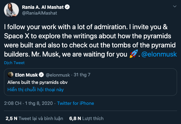 Bộ trưởng Hợp tác Quốc tế Ai Cập Rania al-Mashat phản hồi tweet của Musk.