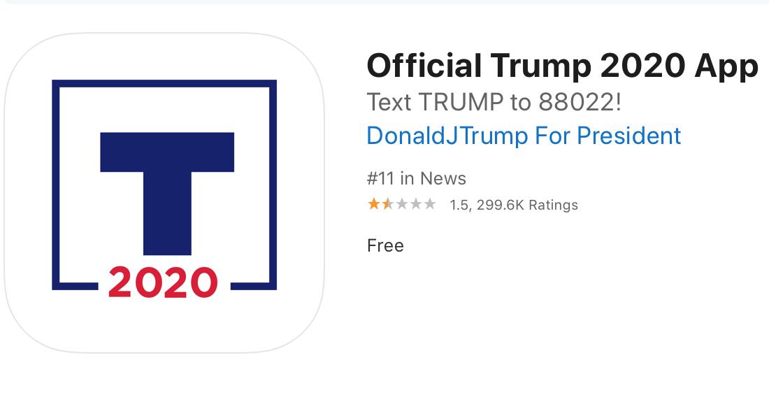 Ứng dụng tranh cử Tổng thống của Trump hiện còn 1,5 sao trên kho ứng dụng của Apple.