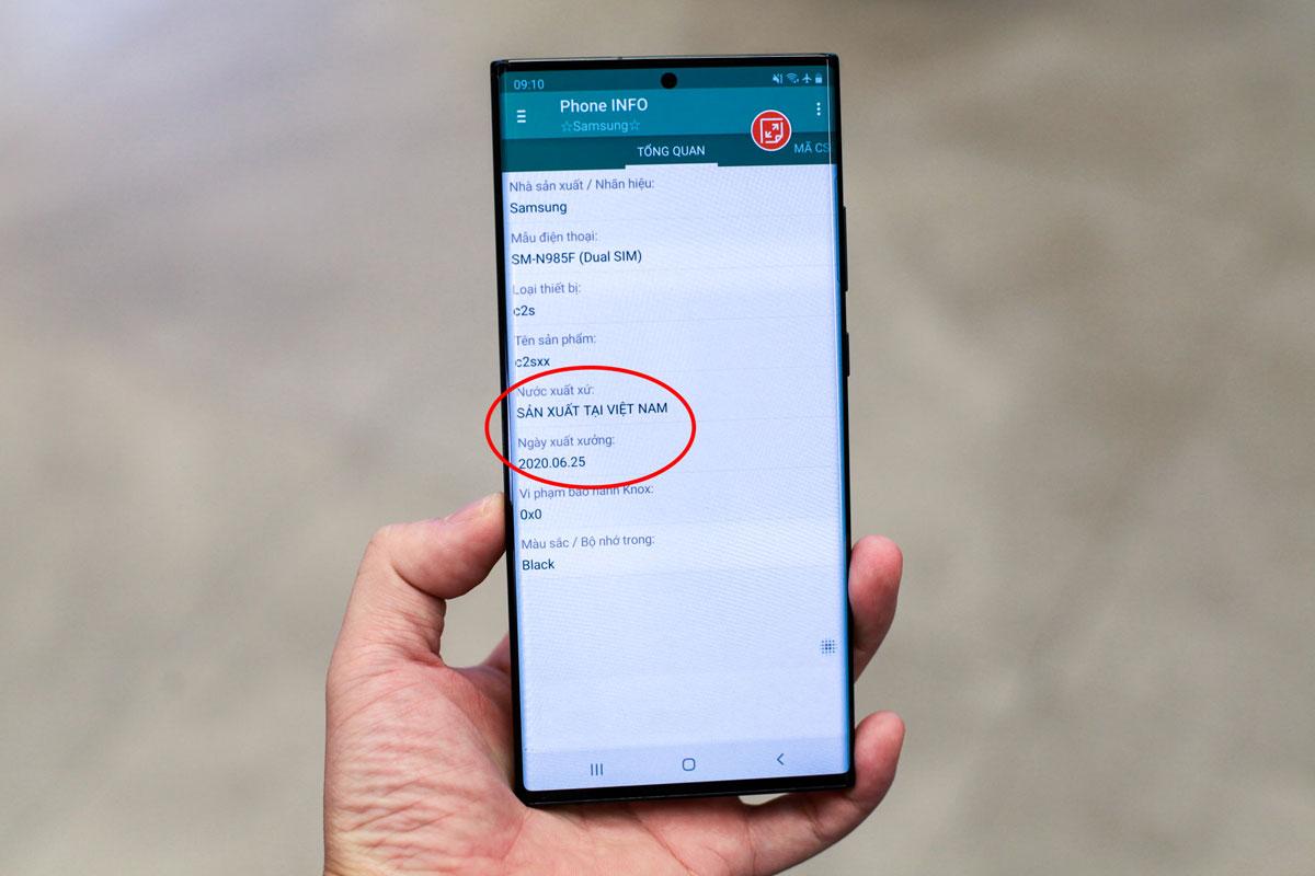 Mẫu Samsung Galaxy Note20 Ultra được sản xuất tại Việt Nam, xuất xưởng ngày 25/6/2020.