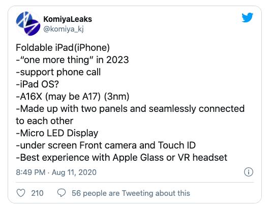 Các tính năng trong smartphone gập của Apple được KomiyaLeaks liệt kê.