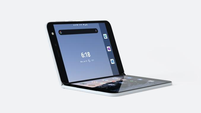 Surface Duo có thể được sử dụng như một chiếc laptop thu nhỏ. Ảnh: Microsoft.