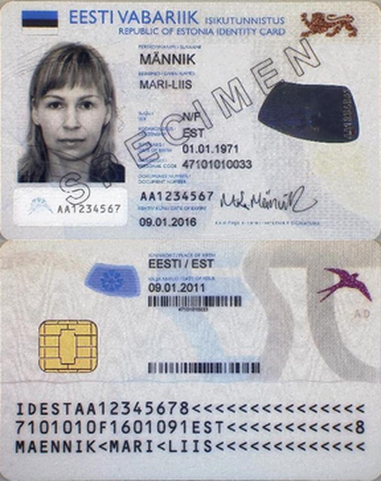 Mặt trước và mặt sau ID Kaart.