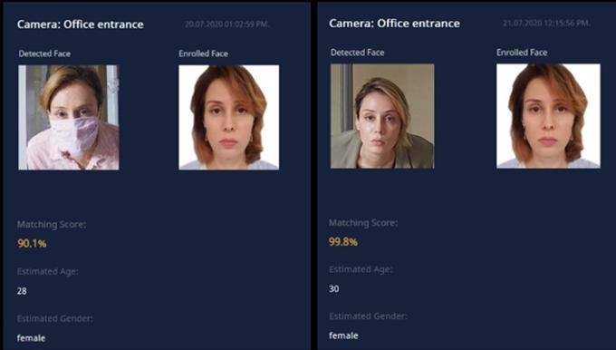 Phần mềm nhận diện khuôn mặt của Tech5 có khả năng xác định người đeo khẩu trang. Ảnh: CNN.