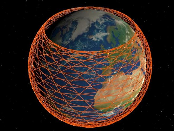 Ảnh mô phỏng mạng lưới vệ tinh của Starlink bao phủ gần như toàn bộ Trái Đất. Ảnh: Đại học College London.