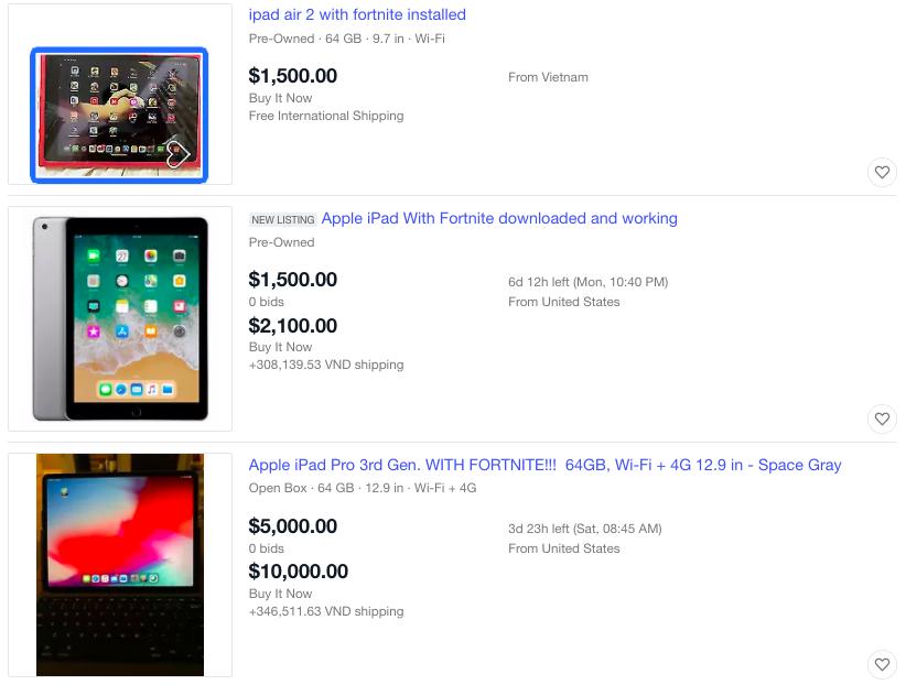 iPad cài sẵn Fortnite được bán với giá đắt đỏ.