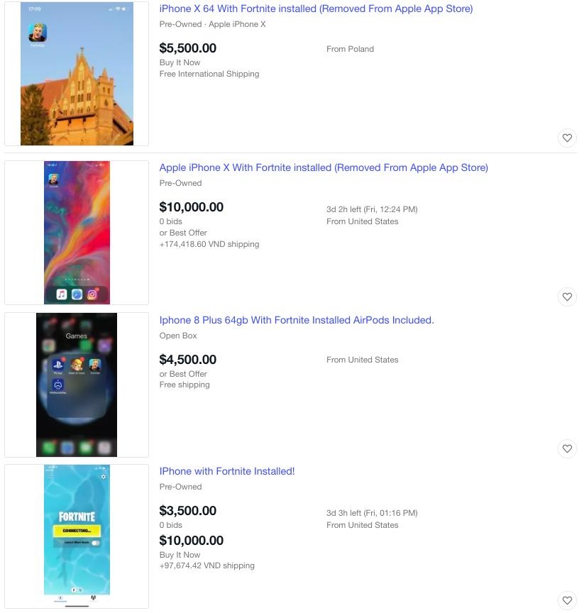Một số mẫu iPhone kèm game Fortnite được rao bán trên eBay.