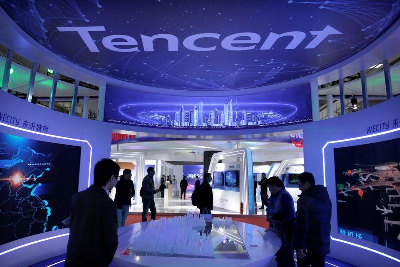 Gian hàng của Tencent tại triển lãm 5G ở Bắc Kinh năm 2019. Ảnh: Reuters.