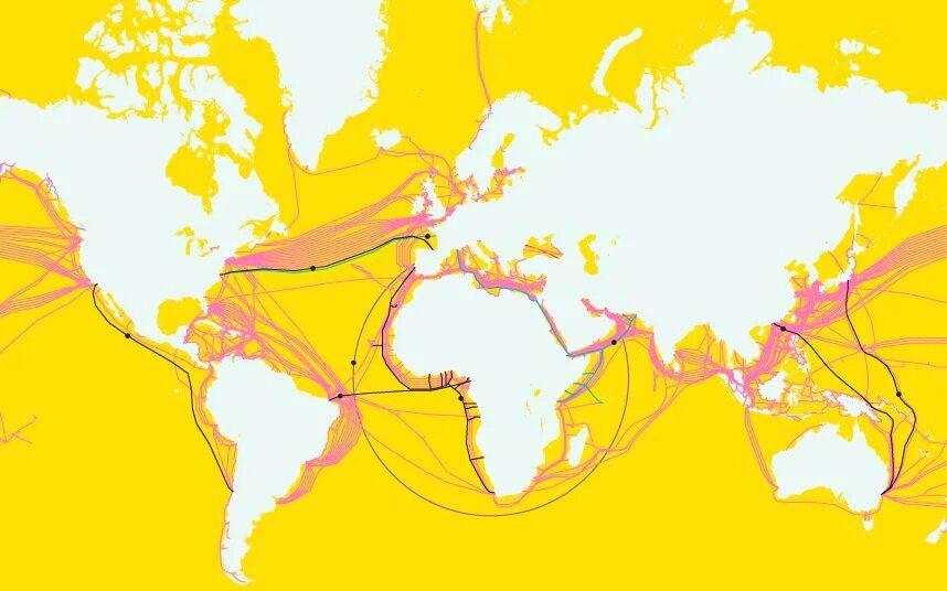 Thế giới hiện có hơn 400 tuyến cáp quang đang hoạt động. Nguồn: TeleGeography.