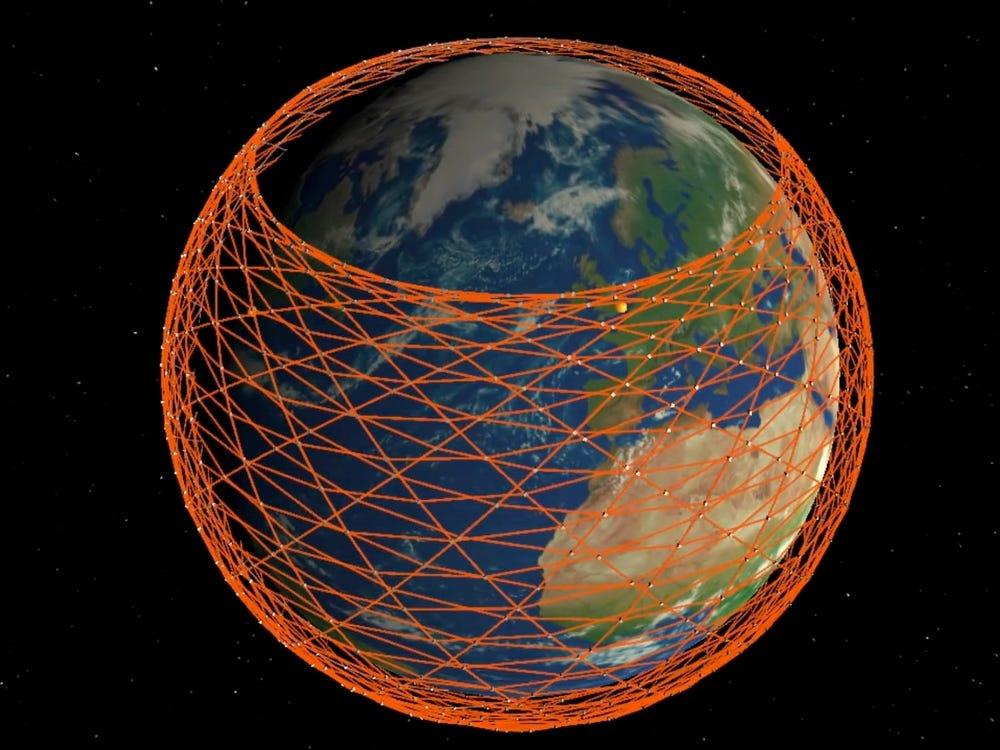 Ảnh mô phỏng mạng lưới Internet vệ tinh của Starlink phủ quanh Trái Đất. Ảnh: College London.