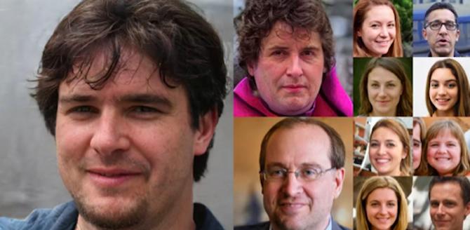 Một vài gương mặt được tạo ra từ trí tuệ nhân tạo của Nvidia.