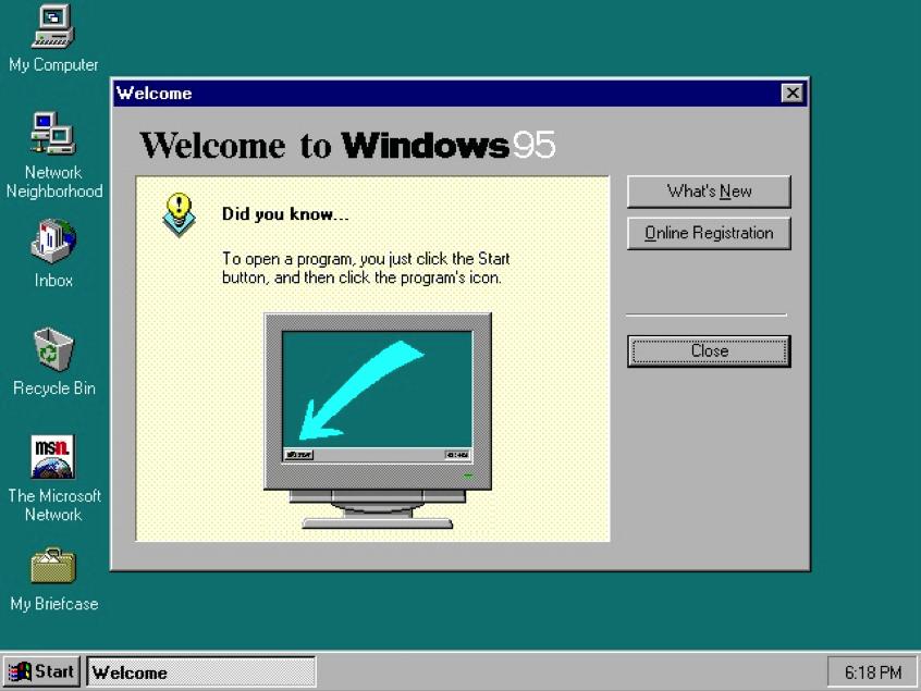 Giao diện hệ điều hành Windows95.