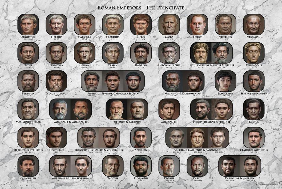Các hoàng đế La Mã được tô màu bởi AI. Ảnh: Daniel Voshart