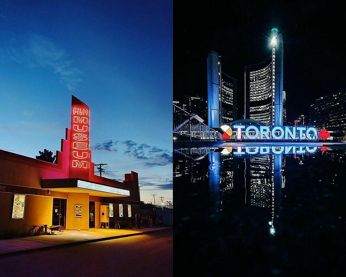 Hai bức ảnh chụp đêm trên vivo X50 Pro của hai nhiếp ảnh gia nổi tiếng Samuel Elkins và Chris Hau.