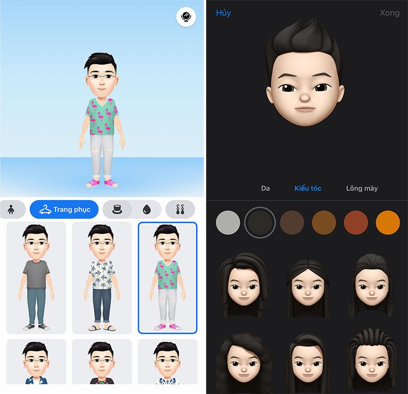 Tính năng tạo ảnh chân dung hoạt hình của Facebook tương tự tính năng Memoji trên iOS (bên phải) nhưng có tuỳ biến đa dạng hơn.