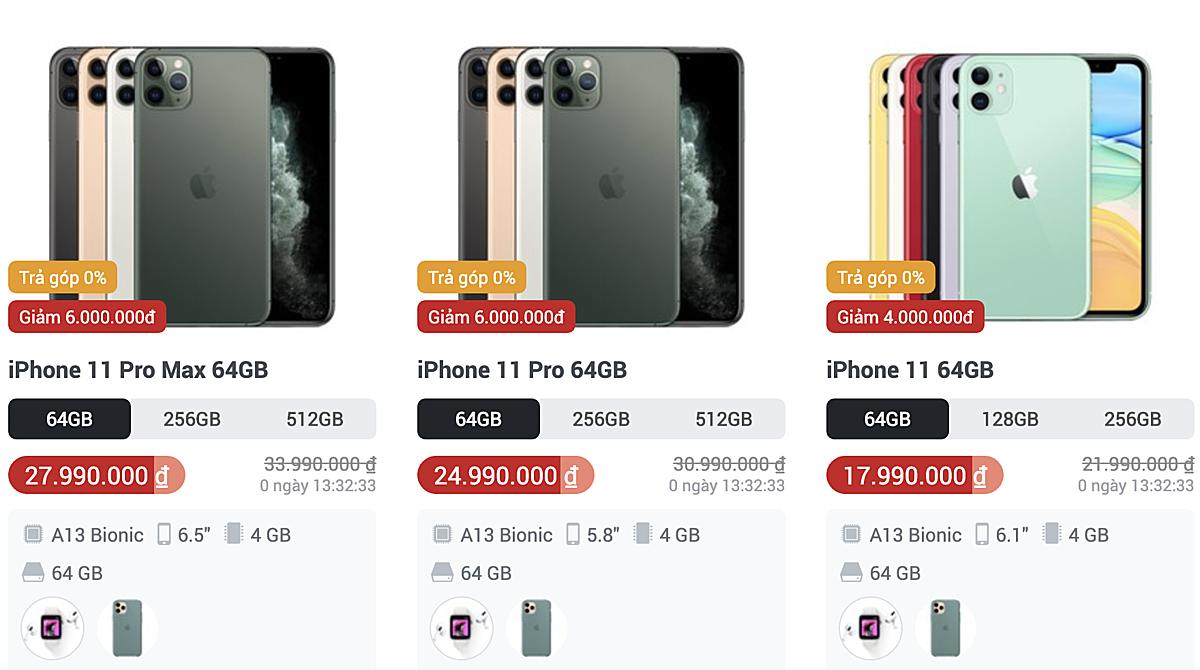 iPhone 11, 11 Pro và 11 Pro Max là những smartphone giảm giá nhiều nhất ở các hệ thống lớn.