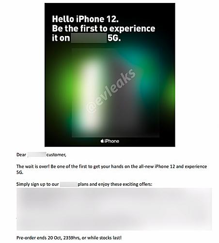 E-mail của nhà mạng tiết lộ về iPhone 12. Ảnh: @evleaks