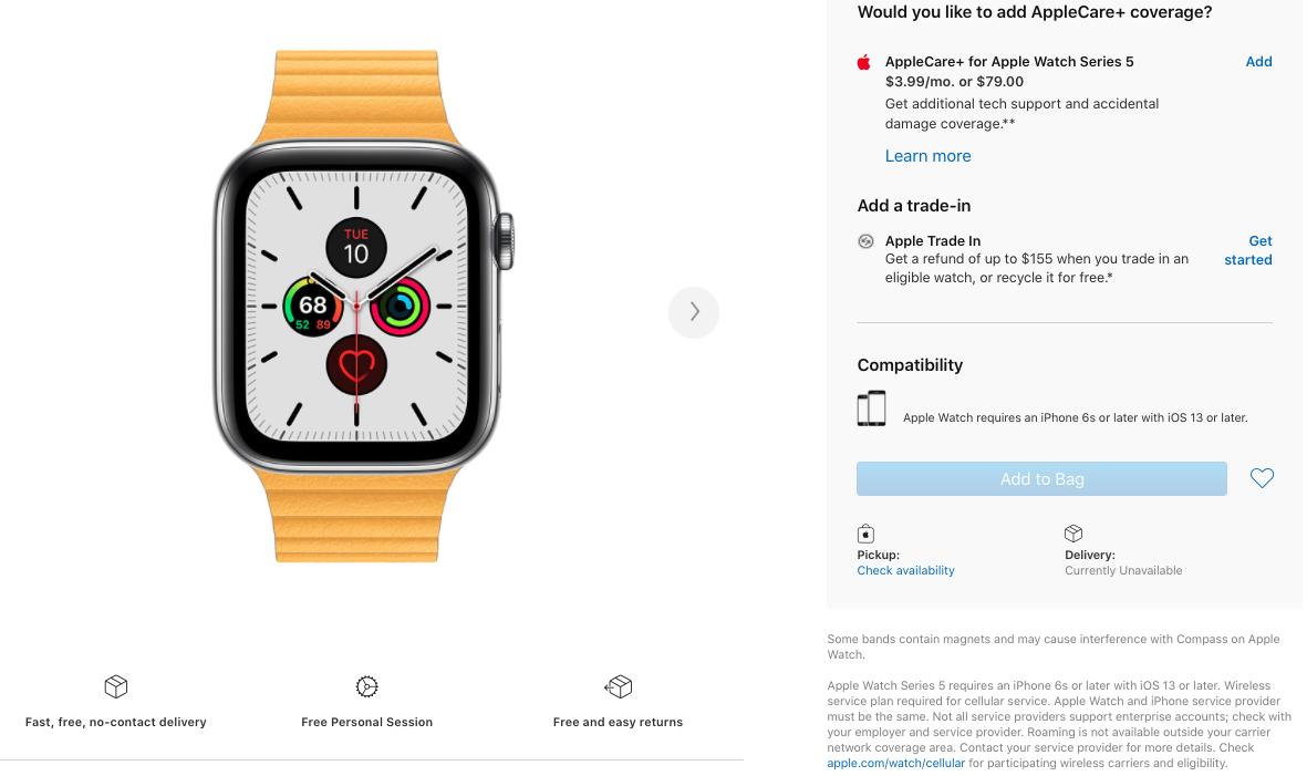 Apple thông báo hết hàng trên cửa hàng trực tuyến ở Mỹ và một số thị trường khác.