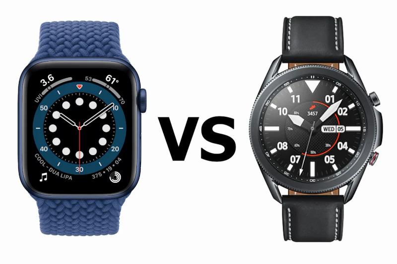 Apple Watch Series 6 (bên trái) có thiết kế hiện đại, trong khi Galaxy Watch 3 (bên phải) có kiểm dáng của đồng hồ cơ.