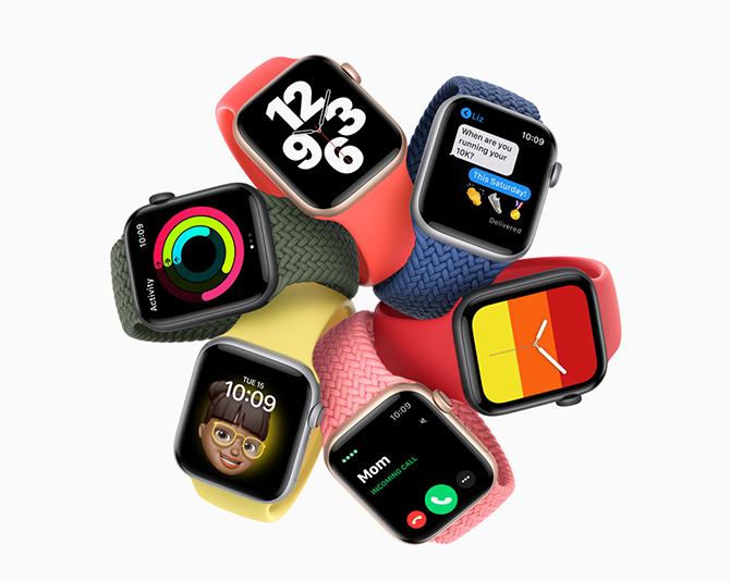 Watch Series 6 có 4 màu thân máy chia theo chất liệu vỏ.