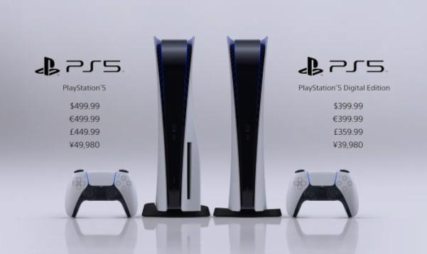 Giá bán PS5 bản tiêu chuẩn và bản kỹ thuật số tại Mỹ, châu Âu, Anh và Nhật Bản.