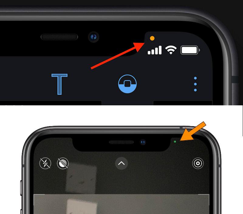 Dấu chấm cam (phía trên) và dấu chấm xanh (bên dưới) iPhone chạy iOS 14.