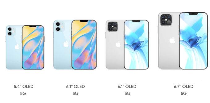 Bốn phiên bản iPhone 2020 được cho sẽ dùng tên iPhone 12 mini, iPhone 12, iPhone 12 Pro và iPhone 12 Pro Max lần lượt từ trái qua phải.