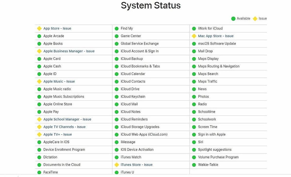 Thông báo có vấn đề xảy ra với hệ thông iCloud (màu vàng) trên trang chủ của Apple ngày 22/9.