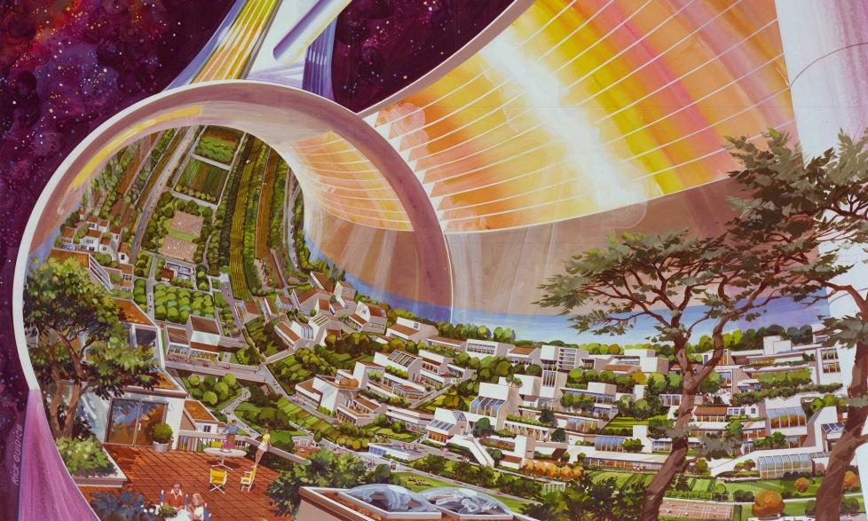 Hình minh họa một khu định cư theo thiết kế của ONeill. Ảnh: NASA.