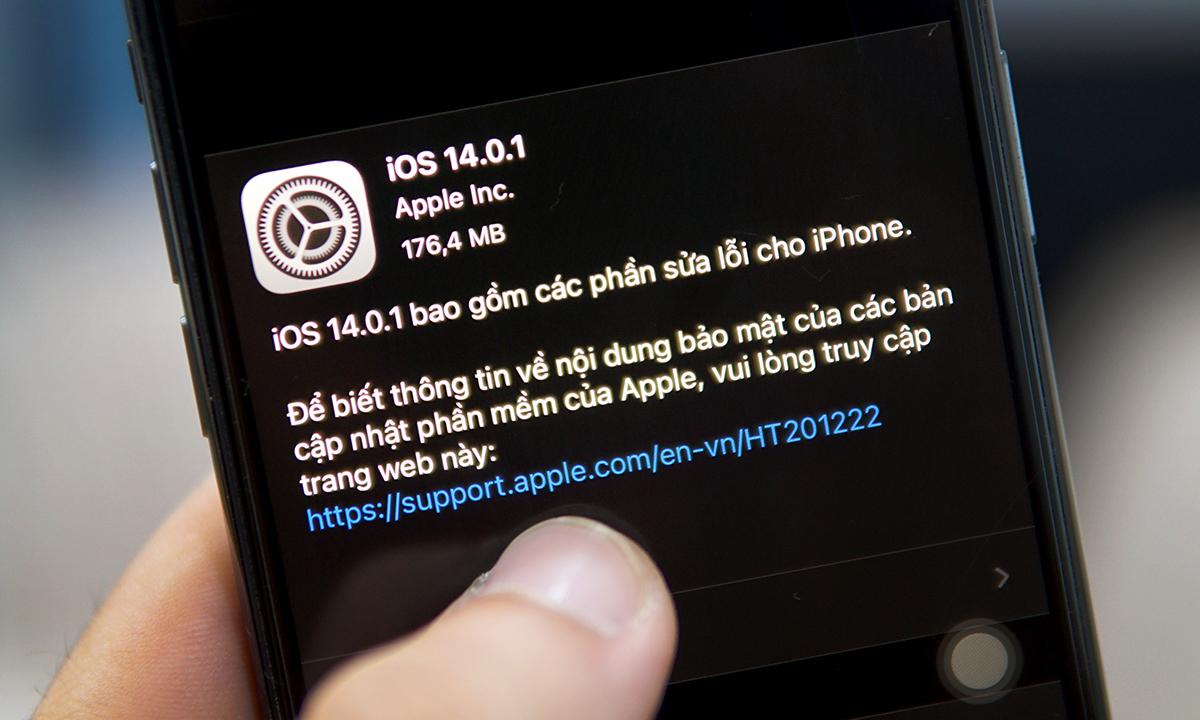 iOS 14.0.1 được phát hành. Ảnh: Lưu Quý